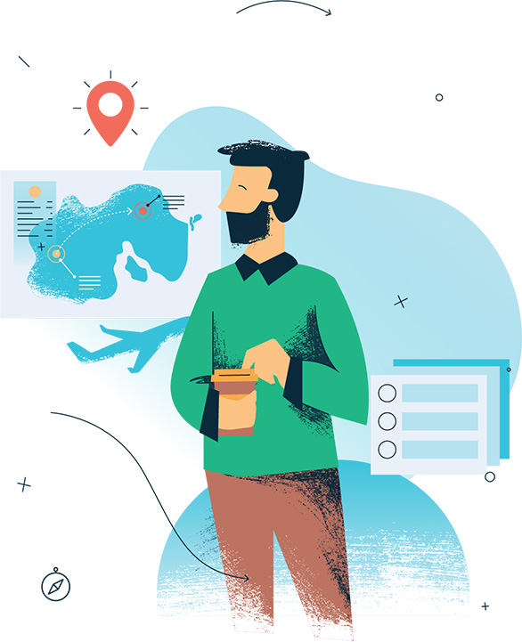 graphic illustration of man holding coffee and looking at a map