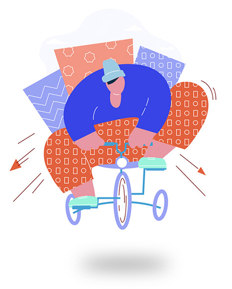 graphic illustration of person riding tricycle